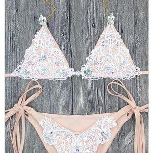 Luxury Rhinestone Triangle Bikini Swimsuit